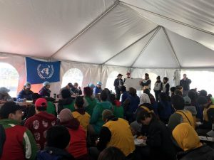 photo of people in UN tent